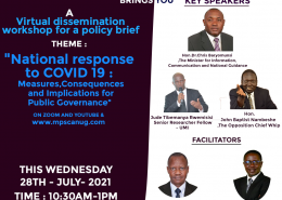 """WORKSHOP TO DISSEMINATE THE POLICY BRIEF ON """"LESSONS FROM UGANDA'S EARLY NATIONAL RESPONSE TO THE COVID 19 PANDEMIC: MEASURES, CONSEQUENCES AND IMPLICATIONS FOR PUBLIC GOVERNANCE"""